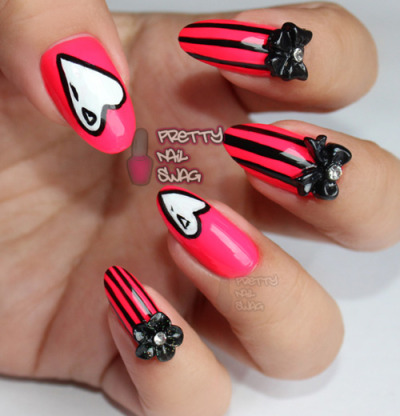 prettynailswag:  Valentine's Day nails on deck! CG - Pool Party & 3D decals. Inspired by Nailside's Cartoon Hearts found here. Photo Cred: DSK  These are too cute!