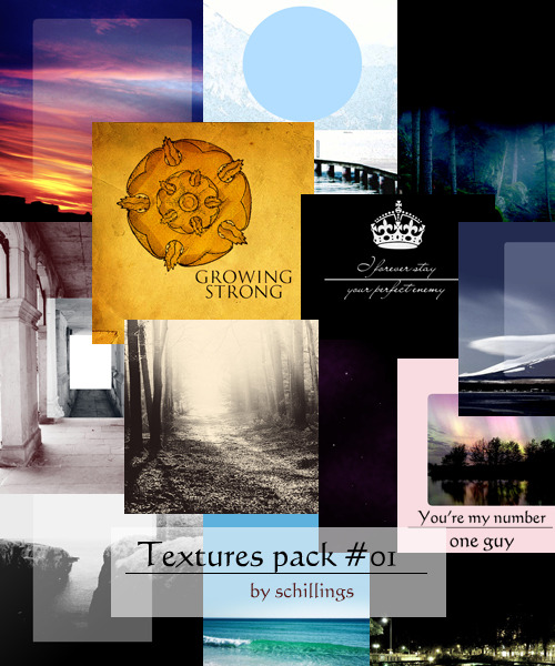 Textures Pack #01 [x]  This includes 20 different style textures made of stock pictures. This is obviously my first pack so I would like to hear what you think. please like/reblog if downloadingdon't repostthanks