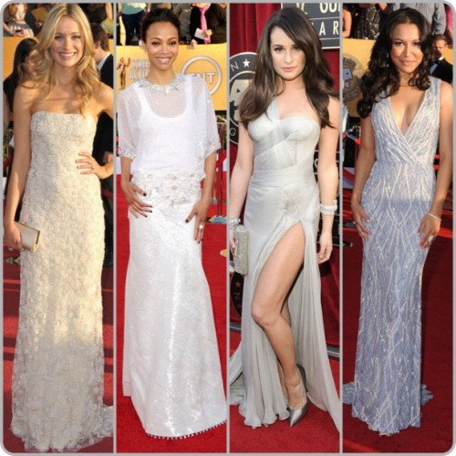 Neutrals #SAGawards #SAG #eredcarpet #LeaMichelle in #Versace #NayaRivera #KatrinaBowden in #Amsale #ZoeSaldana in #Givenchy (Taken with instagram)