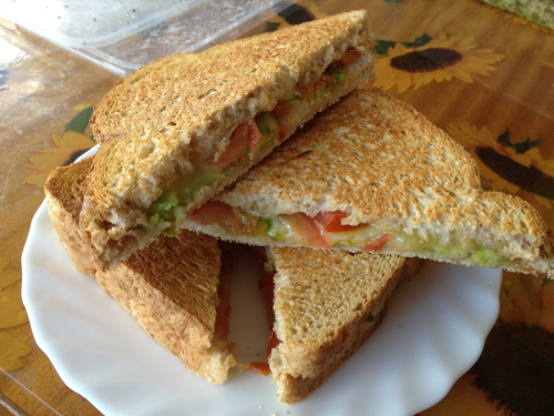 kilo-health:  Tomato, avocado, hummus and vegetarian cheese. Yuuuum!!