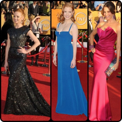 A few best dressed #sagawards #eredcarpet #sag #fashion #redcarpet #JaymaMays in #ReemAcra #JessicaChastain in #CalvinKlein and #SofiaVergara in #Marchesa (Taken with instagram)