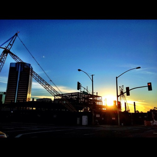 Sunset: Construction. #sunset #popularpage #iphone4s  #sundance  #editoftheday #blue #instagramers #instagram #iphonography  #iphone #iphoneonly #instagood #iphone4 #instagramhub #picoftheday #ca #california #sunlight #sun #yellow #ig #igers #cali  (Taken with instagram)
