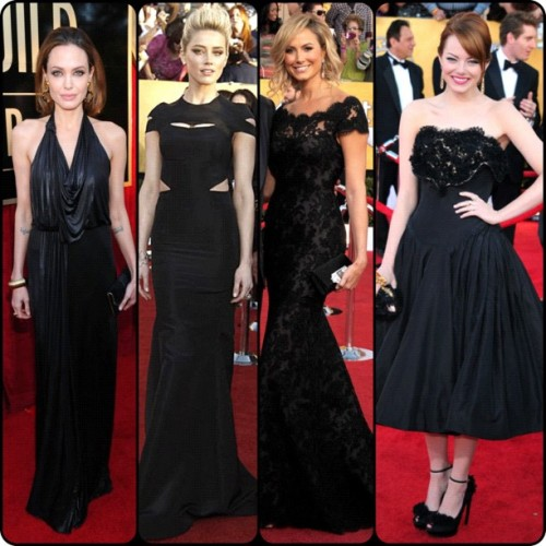 Black all over #sagawards #eredcarpet #sag #fashion #redcarpet #AngelinaJolie in #JennyPackham #AmberHeard in #ZacPosen #StacyKeibler in #Marchesa and #EmmaStone in #AlexanderMcQueen  (Taken with instagram)