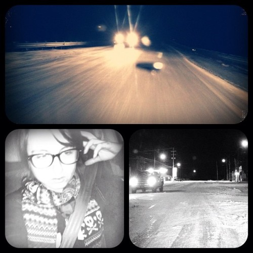 #snow #roads #driving #adventure #vanity #portrait #light #cars #winter #michigan #iphone4s #ice #iced yep taking photos while you're driving is safe. Flash in your face while driving also safe. 👀👍😃 maybe (Taken with instagram)