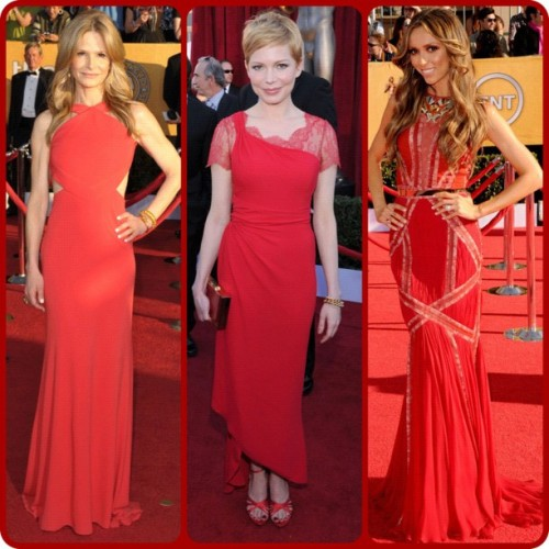 The Reds #sagawards #eredcarpet #sag #fashion #redcarpet #KyraSedgwick in #Pucci #MichelleWilliams in #Valentino and #GiulianaRancic in #BasilSoda (Taken with instagram)