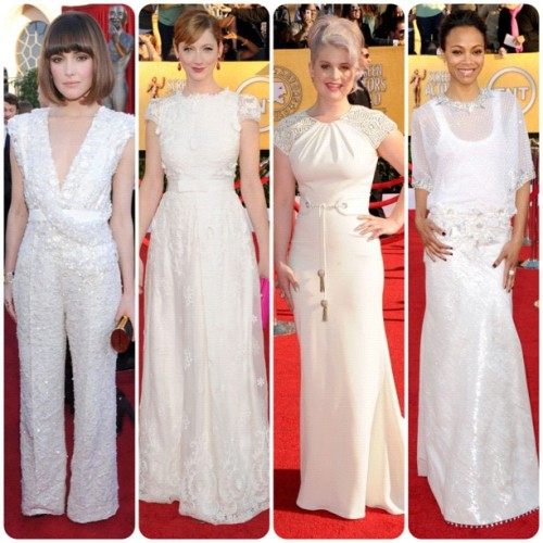 All in White #sagawards #eredcarpet #sag #fashion #redcarpet #RoseByrn in #ElieSaab #JudyGreer in #collettedinnigan #KellyOsbourne in #BadgleyMischka and #zoesaldana in #givenchy  (Taken with instagram)