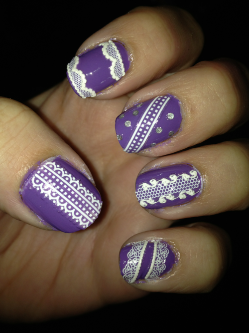Lace nails!   Sinful colors- verbena  Lace nail decals