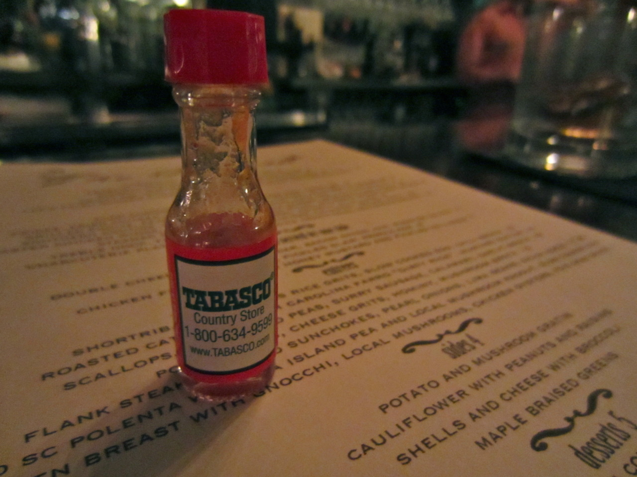 the world's tiniest bottle of tabasco.