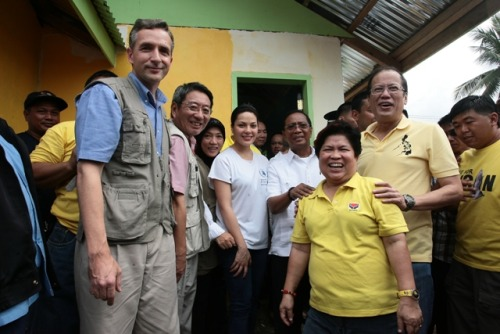 wfp:  Rebuilding One House At A Time With WFP Last month we shared scenes of destruction from Tropical Storm Washi that ravaged southern Philippines. This time we are happy to share that the survivors are rebuilding their homes and WFP is helping make that happen.  By providing food as incentive for the community members to work on their houses, WFP is supporting the Philippine Government's relocation shelter project in Sta. Elena Village, Iligan City where approximately 1,700 houses — such as the one in the photo — will be built. Showing full solidarity with the survivors at the relocation site's groundbreaking ceremony are (L-R): WFP Philippines Country Director and Representative Stephen Anderson, WFP Asia Regional Director Kenro Oshidari, WFP Philippines-Iligan Sub-Office Head Baicon Macaraya, WFP Ambassador Against Hunger KC Concepcion, Philippine Vice-President Jejomar Binay, Department of Social Welfare and Development Secretary Dinky Soliman and Philippine President Benigno Aquino III.