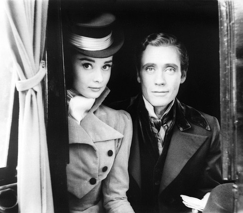 "Audrey Hepburn and Mel Ferrer on the set of ""War and Peace."" Photograph by Milton H. Greene for LOOK Magazine, 1955. Source: Library of Congress, LOOK Magazine Collection"