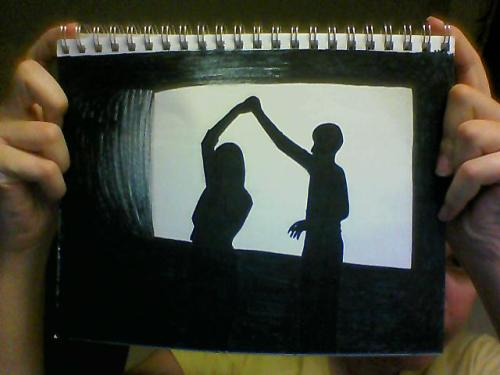 So… this black Crayola marker'd drawing was inspired by this gif. It's not done, but… Yeah.