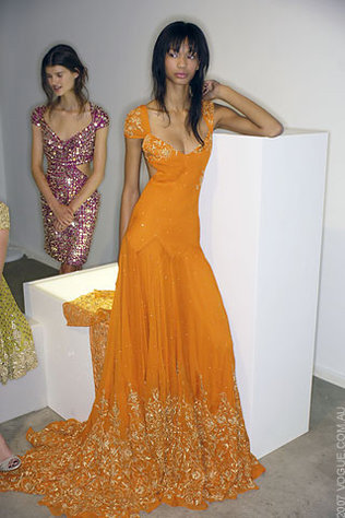 Chanel Iman in Marchesa Spring 2008 show. Love the hair!