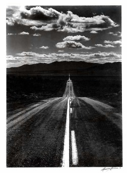 liquidnight:  Ansel Adams Road, Nevada Desert, circa 1960 Silver gelatin print [via the American Museum of Photography]