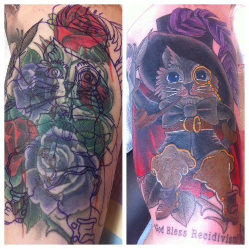fuckyeahtattoos:  Insane coverup done by Jeremy Swan at Broken Art Tattoo. Based on a common Russian prison tattoo depicting a wiseass cat, often a symbol of someone who doesn't seem to ever learn from their mistakes  hoy shit. i knew jeremy was amazing, i just didn't realize how amazing.