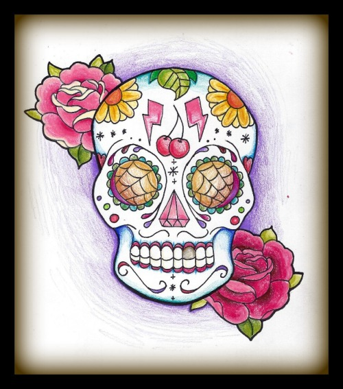 digitall0ve:  Sugar Skull for some cool lady  J'AIME.