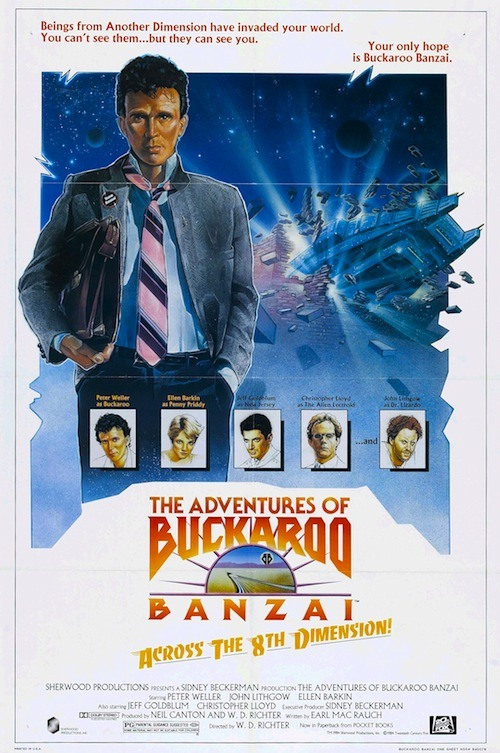 Here's The Adventures of Buckaroo Banzai Across the 8th Dimension from 1984. It was directed and produced by W. D. Richter, and concerns the efforts of the multi-talented Dr. Buckaroo Banzai (Peter Weller), a physicist, neurosurgeon, test pilot, and rock musician, to save the world by defeating a band of inter-dimensional aliens called Red Lectroids from Planet 10.  Click through to Bibliokept for a peek at the bizarre end titles.