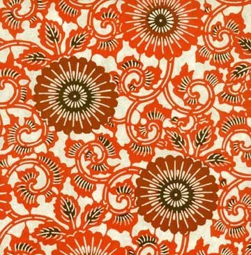 patternatic:  Japanese Katazome Paper (Orange) This paper is decorated with a precise and quite laborious process, which is a combination of stenciling and resist dyeing.