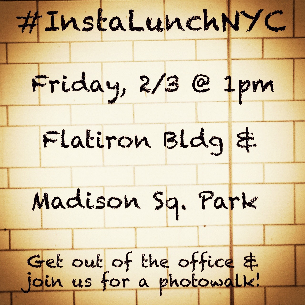 It's another InstagramNYC photowalk! This Friday spend your lunch break meeting, mingling and shooting cool photos with your fellow Instagrammers… Join @LolitaLens and @Jacelinda at 1pm at the Flatiron Building!