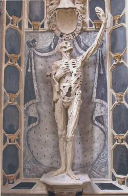 "psofos:  The ""Transi de René de Chalons"" by Ligier Richier, in the church of Saint Etienne in Bar-le-Duc, France. A cadaver tomb or transi is a church monument or tomb featuring an effigy in the macabre form of a decomposing corpse. A transi is exactly this; the depiction of a rotting cadaver in art. The term can also be used for a monument that shows only the cadaver without the live person. The sculpture is intended as a didactic example of how transient earthly glory is, since it depicts what we all finally become.These cadaver tombs were made only for high-ranking nobles, because one had to be rich to afford to have one made, and powerful enough to be allotted space for one in a church.Thus, The ""Transi de René de Chalons"" represents René of Châlon (5 February 1519 – 15 July 1544), prince of Orange."
