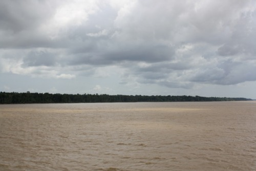 On the Amazon!!! Yesterday we passed through a storm. As we looked out over the shore we could see these streaks of rain falling into the forest. Unfortunately it couldn't really be captured in a picture but it was truly something else.  The visibility got so low as we got surrounded by mist.  During the night there was lightening over the forest that lit up the whole sky.Tomorrow we actually get to Manaus, a place that is only accessible by ship and plane. I'm going into the Amazon to learn some survival skills and sleep in a hammock and after that I'm going to explore the city of Manaus and visit a factory/business for a class.