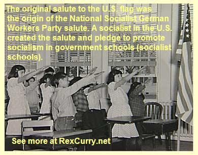 "Stop the Pledge of Allegiance. It was the origin of the Nazi salute and Nazi behavior (still is) in the USA. See the work of the symbologist Dr. Rex Curry. Francis Bellamy and Edward Bellamy were American national socialists and they influenced German national socialists, their dogma, rituals (robotic chanting) and symbols (the use of the swastika to represent crossed S-letters for ""socialism""). The pledge was the origin of similar robotic chanting imposed by other authoritarian governments. The early pledge began with a military salute that was then extended outward to point at the flag (in practice the second gesture was performed palm down). It was not an ancient Roman salute (that is a debunked myth). It is the worship of government/socialism. The pledge caused bullying, violence, castrations, even lynchings. It continues to cause bullying. Most Americans today were educated in socialist schools (government schools) so they are ignorant of the fact that it was happening in the USA (to the stars and stripes) and in Germany (to the swastika flag) at the same time. The pledge's viciousness continues to happen here, only the gesture changed. Support the ""Stop the Pledge"" foundation and campaign."