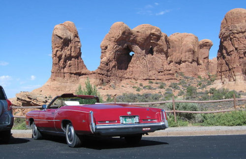 "i12bent:  Edward Abbey's 1975 Cadillac in its natural habitat… ""Heaven is home. Utopia is here. Nirvana is now."" - Abbey's Road (1979)"