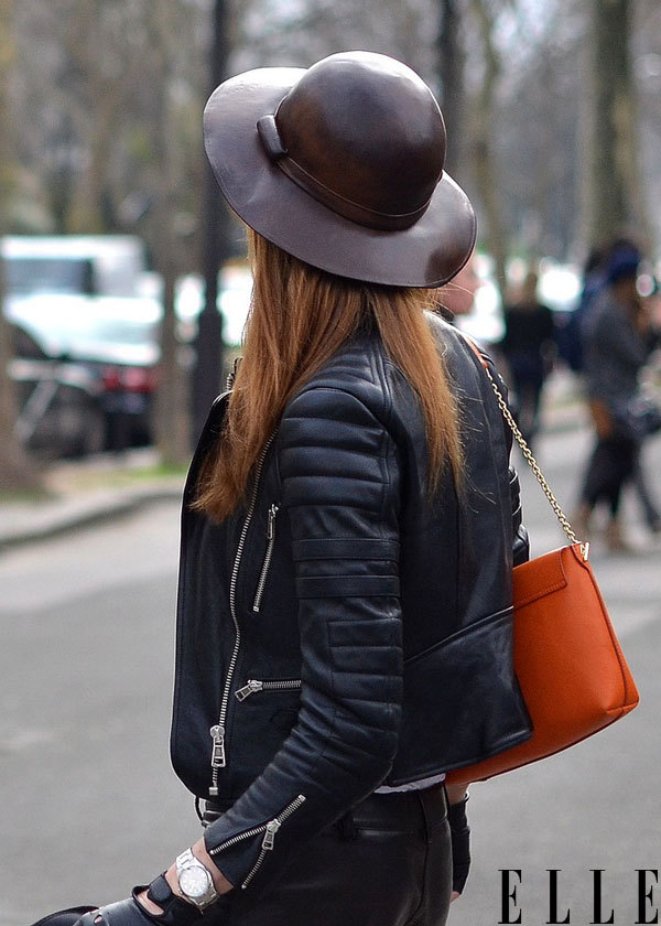 elle:  Street Chic: Paris The most luxurious leather pieces make a powerful pair. Photo: Courtney D'Alesio