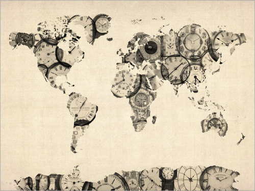 Old Clocks Map of the World Map Art Print by artPause on Etsy
