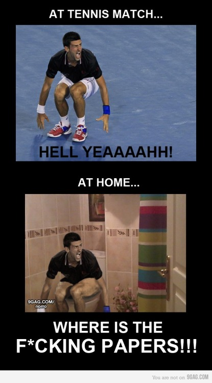 9gag:  (via 9GAG - Being Djokovic)  TANGNA HAHAHA