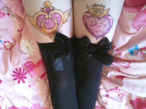 "fuckyeahtattoos:  Super Sailor Moon & Super Sailor Chibi Moon's ""Crisis Make-up!"" brooches. I love Sailor Moon very much. It has & hopefully always will make me happy :) Done by Zoe at Abandoned Art in Wanneroo WA  Not going to lie, Thats pretty dang cool <3"