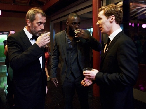 Meanwhile, in today's episode of Dapper British Men With Booze: Hugh Laurie, Idris Elba, and Benedict Cumberbatch.