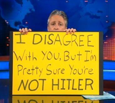 If only more poltical discourse took place with Jon Stewart's attitude and approach.
