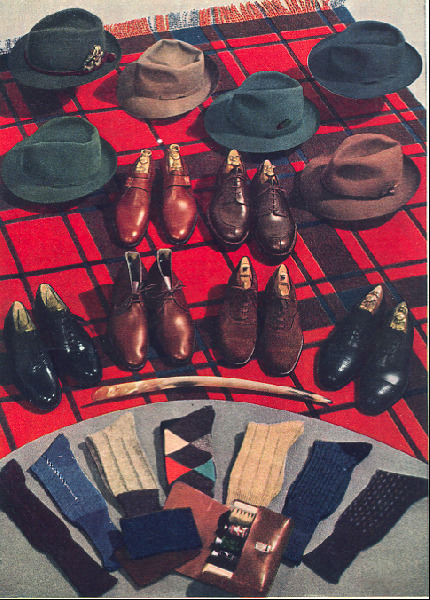 theweejun:  Esquire Magazine shoe wardrobe, Fall 1939. Note the Monk Shoe, the Chukka Boot (2 Eyelets of course) and the Norwegian Algonquin already in evidence. Source