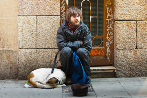 They Look Just Like You:  Homeless Man & Dog Calle de la Canuda Barcelona Spain.