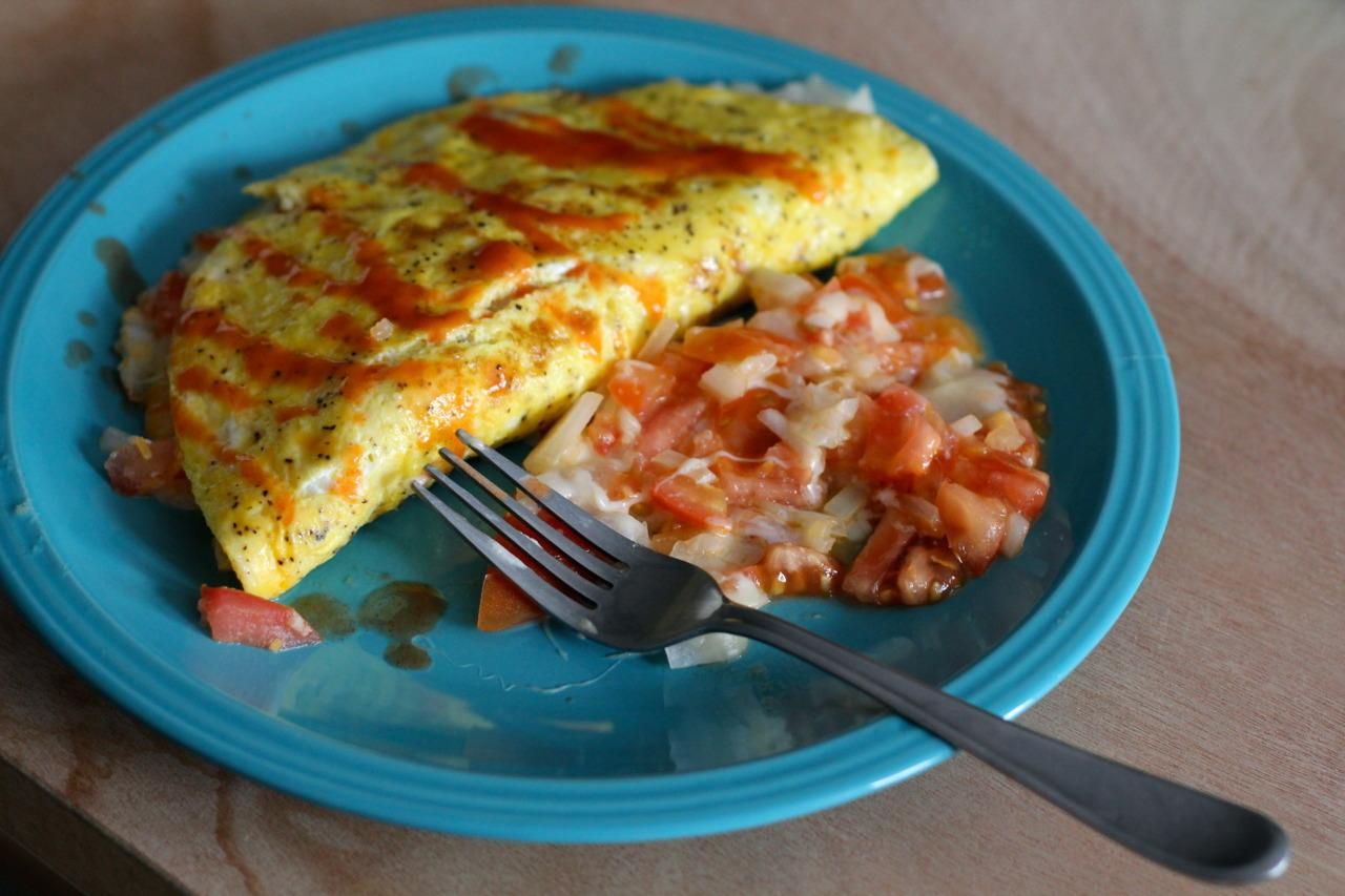 "Breakfast. 3-egg omelet with chopped onions and tomatoes, mozzarella and mexican cheese blend, ""camp mix"" spices and Frank's Red Hot with the leftover tomato, onion and cheese on the side. Yum. -Mike"