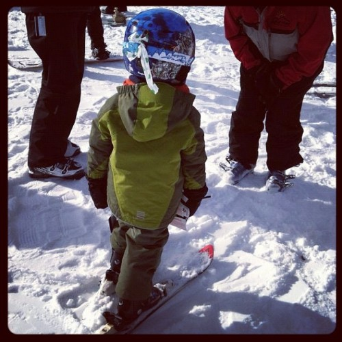A pint sized skier learns how to steer past all the grown-ups on their butts. Parenting is on Instagram! If you are too, be sure to follow us! If not, see us online here.  :)