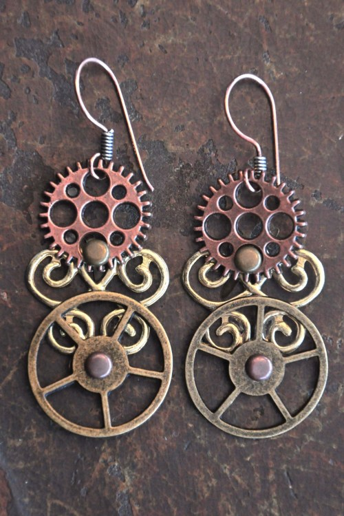 steampunk earrings made by my wife simple, elegant and effective — and the gears spin! ;) not for sale