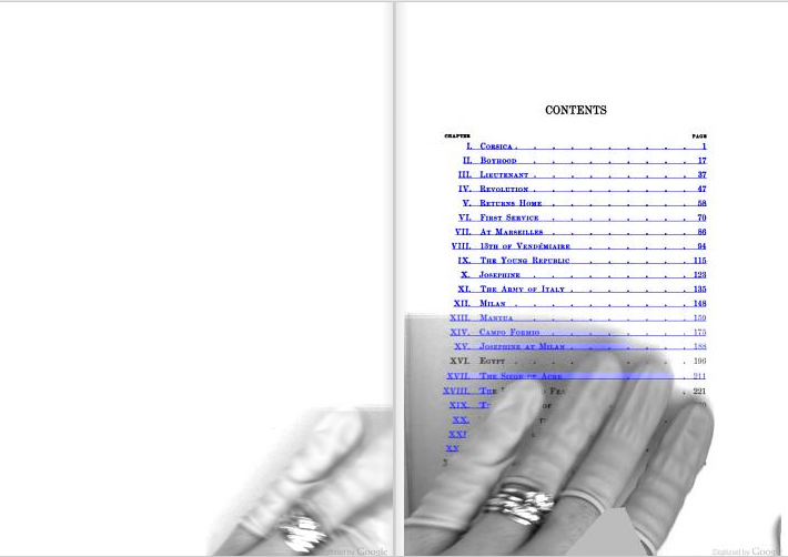 Autolink over the fingers of a Google Books employee. From the table of contents of Napoleon: A Sketch of His Life, Character, Struggles, and Achievements by T. E. Watson (1902).