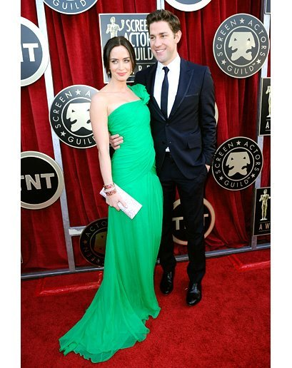 best dressed couple at the SAG awards. love Emily Blunt's Oscar de la Renta dress