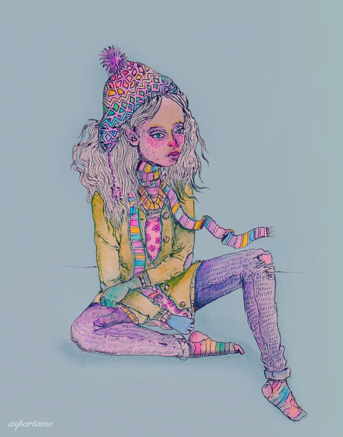 "fuckyeahpsychedelics:  ""Sweater Weather"" by aspartamee  Those colourful socks remind me of myself.. and I love that hat :3"