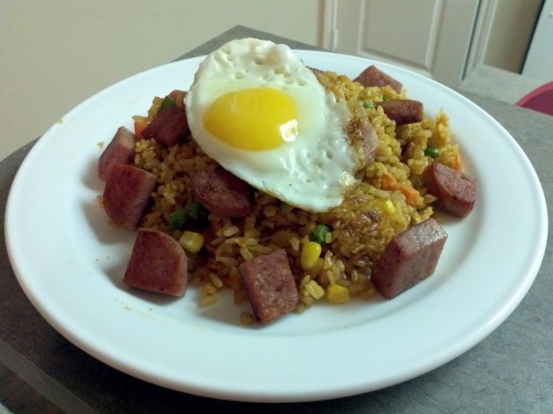 What I cooked today (30 jan 12)  Nasi goreng with Spam.