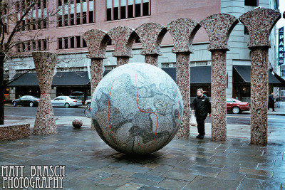 Earth Ball on Flickr.This photograph was taken in Philadelphia, PA at a park near the Redding Terminal Market on January 27, 2012 by Matthew Brasch. Camera: Olympus AX 2 Lens: Olympus D-Zuiko 35mm f/3.5 Focal Length: 35 ISO: 400