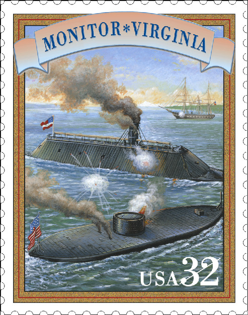 On January 30, 1862, the first American ironclad warship - the USS Monitor - was launched during the Civil War. The ship is most famous for its participation in the Battle of Hampton Roads, in which it fought against the Confederate States Navy's CSS Virginia, depicted here. This stamp was issued in 1995 as part of the Civil War pane.