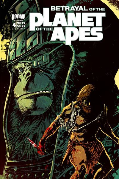 Market Monday Betrayal of the Planet of the Apes #4, co-written by Corrina Bechko  Hot on the heels of BOOM!'s sold-out, bestselling Planet of the Apes ongoing series comes a brand new four issue mini-series co-written and drawn by Gabriel Hardman (Hulk, Agents of Altas), taking place during the continuity of the original, seminal fan-favorite film! Now on the run, the feared and respected General Aleron must find the one ally in Ape government that can stem the tide of carnage about to crest - for human and ape alike! The conclusion to the not-to-be-missed mini-series!  ~Preview~