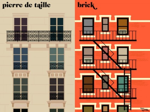 theatlantic:  An Artistic Comparison of Paris and New York  As polar opposite as Paris and New York may seem at times, it's hard to love one city and hate the other. Each is complex in its offerings, diverse in its appeal, and the debate over which city is supreme evidently warrants its own blog. Vahram Muratyan is the author and artist behind Paris versus New York: A Tally of Two Cities, a blog that pits the pride and joy of both cities against each other in a magnificent series of minimalist prints. Through colorful graphics that border on 8-bit simplicity, Paris and New York come head to head, making it harder than ever to choose which city does it best. Read more. [Image: Vahram Muratyan]   I picked this up in the bookstore the other day and it's super cute!