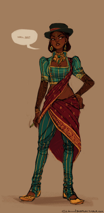 "shoomlah:   Multiculturalism for Steampunk is starting up a weekly art challenge, and it looks promising. SO EXCITED. I've had a bunch of ideas for non-Western steampunk outfits floating around in my head, and it's nice actually having a weekly deadline to motivate me to finish some of them.This is pretty subtle in its steampunkery (read: no extranneous metal bits), but I was just trying to bring in a few western/Victorian elements to traditional Indian clothing- legomuttoned sleeves, the double breasted, collared choli, and adapting the churidar into buttoned spats.…Also a sweet hat.-C Editing to add commentary in response to toryot: No such thing as being oversensitive with this sort of thing! I appreciate it, honestly.  I tried to avoid choosing anything specifically British (or any of the imagery specifically associated with colonization/""exploration chic"", things like khaki and piths), and tried to make it seem like the character had agency.  I definitely don't want to pretend I'm creating this in a void, that there aren't historical and cultural contexts surrounding the politics of dress, but was trying to integrate elements that didn't overwhelm the original culture. Granted, I am of the opinion that Steampunk that erases past racial greivances (i.e. alternate history where white people are awesome and never did anything wrong and we're all best friends) is kinda shitty and naive- that's why I drew this as a character, and not as a costume design for something I would wear (as a white chick).  If one were designing a Steampunk world, it would be unfair to assume that this cultural crossover didn't happen and wouldn't have existed, but I honestly apologize that the original post might make it seem like this was drawn solely for aesthetic purposes- and I'd like to address that and make it clear that I am definitely trying to keep context in mind, and am happy to be called out like this."