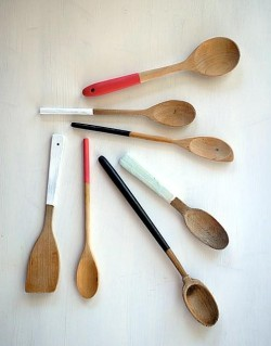 color blocked wooden spoons