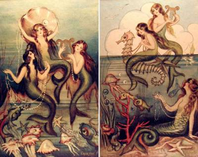 msbehavoyeur:  Charming mermaids ~ vintage Italian mermaid postcards.  via