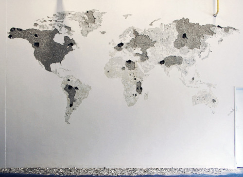 detail of 'world map' by jean denant, 2009