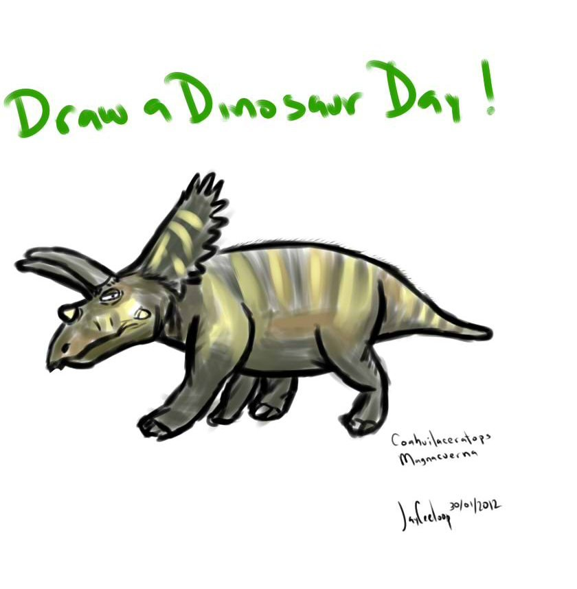 drawadinosaurday:   The Coahuilaceratops Magnacuerna, first horned dinosaur found in Mexico (in my home state!)   Although they are incomplete, Coahuilaceratops is thought to possess the largest horns of any dinosaur currently known. Its horns are estimated to have been up to 4 feet (1.2 m) long.